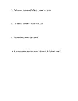 Preterite -AR practice HW Questions (Realidades 1, 7B)