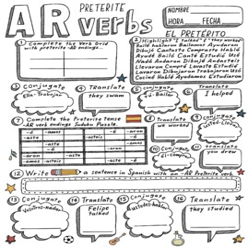 Spanish Preterite -AR verb worksheet conjugation ~translat