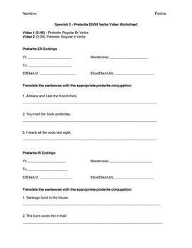 Preterite Er/Ir Verbs Video Worksheet