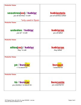 Preterite Flash Cards - Regular -AR, -ER, -IR and -CAR, -GAR, -ZAR Verbs