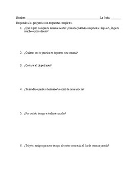 Preterite HW (-ar verbs with zar and car spelling changes) Realidades 1, 7B