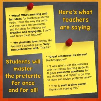 Preterite Lesson Plans, Games, Videos, Songs, Quizzes, Activities, Test, Spanish