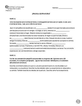 Preterite Practice Activities (3 Worksheets & 2 Writing Activities)