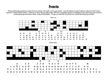 Spanish Preterite Puzzle Pack