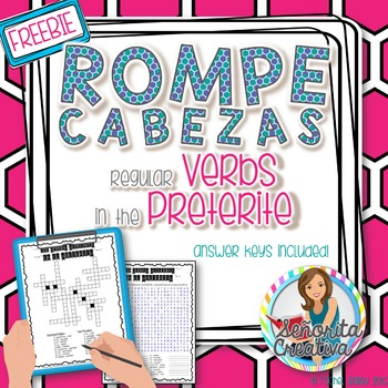 Preterite Regular Verbs Word Puzzles (Wordsearch and Crossword)