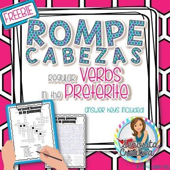 Preterite Regular Verbs Word Puzzles (Wordsearch and Crossword)