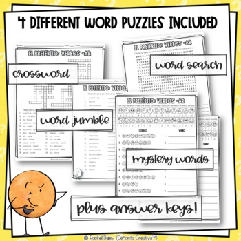 Preterite Regular -ar Verbs Word Puzzles (Wordsearch and Crossword)