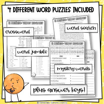 Preterite Regular -er and -ir Verbs Word Puzzles (Wordsearch and Crossword)
