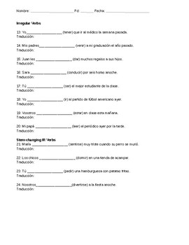 Preterite Review Worksheet