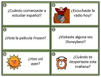 Preterite Spanish Task Cards - Pretérito - 24 Converstaion Starters