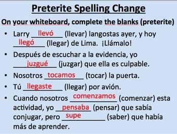 Preterite Spelling Change Verbs in Spanish--Initial Presentation by Trevor  Gore