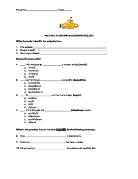Preterite Stem Changing Verb Conjugation Quiz