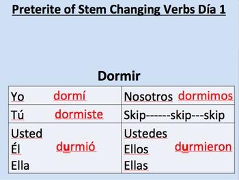 Preterite Stem Changing Verbs--Initial Presentation