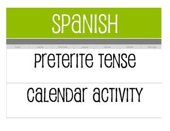 Spanish Preterite Calendar Activity