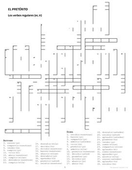 Preterite Tense Crossword Puzzles