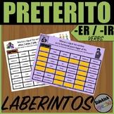 Preterite Tense ER and IR Verb Mazes in Spanish