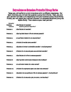 Spanish Preterite I Group Rotating Interviews