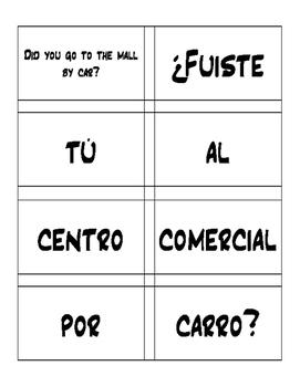 Spanish Preterite Ir Ser Dar Ver Sentence Mixer