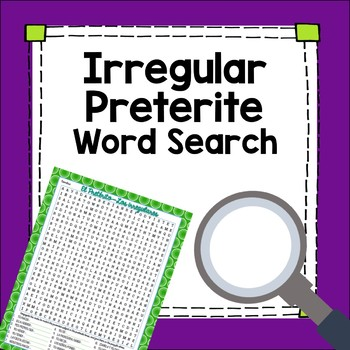 Preterite Tense Irregular Verbs Word Search Worksheet Fun Exercise