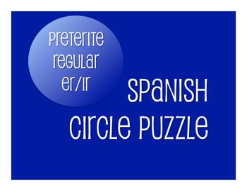 Spanish Preterite Regular ER and IR Circle Puzzle