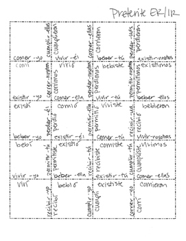 Spanish Preterite Regular ER and IR Jigsaw Puzzle