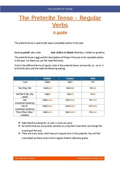 Preterite Tense - Regular Verbs