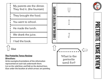 Preterite Tense Review Interactive Notebook Page