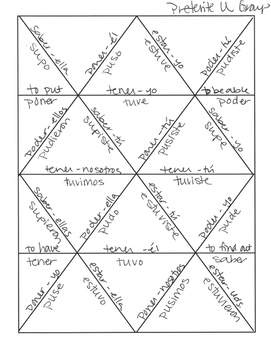 Spanish Preterite U Group Jigsaw Puzzle