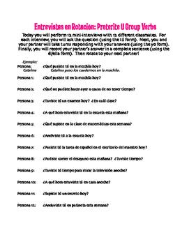 Spanish Preterite U Group Rotating Interviews
