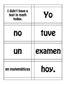 Spanish Preterite U Group Sentence Mixer