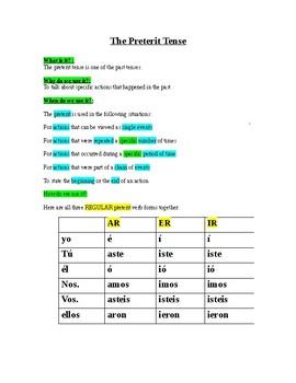 Preterite Tense notes- uses and regular endings