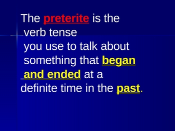 Preterite Verbs Instructional and Practice Animated PowerPoint