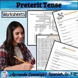 Preterite Word Games (Crossword, Word Search, Worksheets)