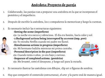 "Preterite and Imperfect Collaborative Spanish Project: ""Anécdota de mi juventud"""