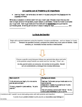 Preterite and Imperfect Guided Writing Story and Template