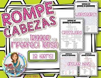 Preterite and Imperfect Key Words Puzzle BUNDLE (Word Search and Crossword)