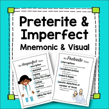 Preterite and Imperfect Mnemonic Device Spanish Posters Handouts with Examples