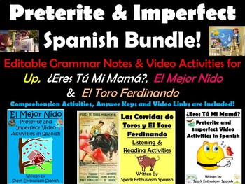 Preterite and Imperfect Spanish Video Activities Bundle
