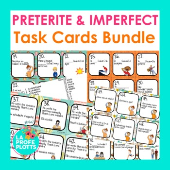 Spanish Preterite and Imperfect Tenses Task Cards Bundle