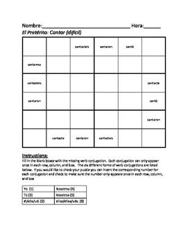 Preterite -ar verb sudoku