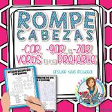 Preterite -car, -gar, -zar Verbs Word Puzzles (Wordsearch and Crossword)