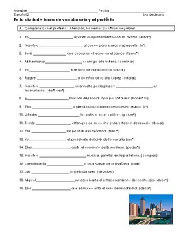 Preterite irregular and places in the city homework sheet