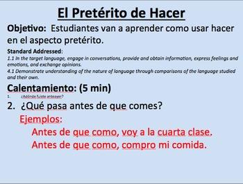 Preterite of Hacer--Initial Presentation