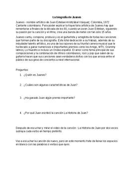 Preterite tense Active Learn Activity - La Historia de Juan