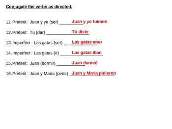 Preterite v Imperfect Spanish 2-4