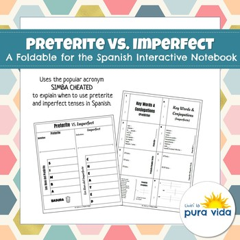 Preterite vs. Imperfect - A Foldable for the Spanish Interactive Notebook