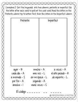 Spanish Preterite and Imperfect Breakout Room Lesson Plan Activity