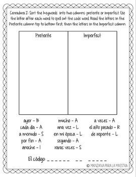 Preterite and Imperfect Break Out Escape Room Spanish Lesson Activity