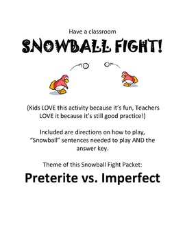 Preterite vs. Imperfect Classroom Game - Snowball Fight!