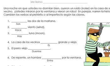 Preterite vs Imperfect:  El Robo (differentiated)